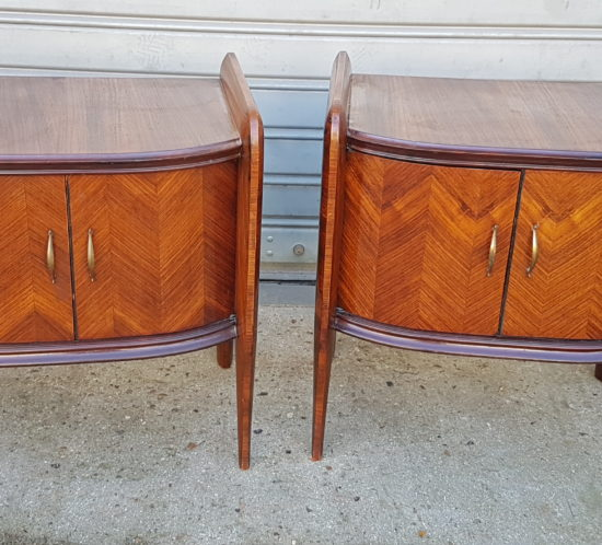 Pair of Italian bedside tables 1950 rosewood